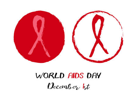Two round logos of red AIDS ribbon from brush strokes on white background. World AIDS day in December 1st. Vector illustration