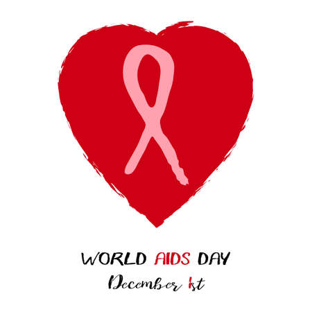 Red heart with red AIDS ribbon from brush strokes inside on white background. World AIDS day in December 1st. Vector illustration