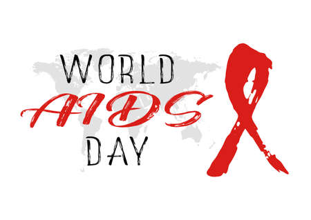 Shape of red AIDS ribbon from brush strokes on white background with map of world. World AIDS day in December 1st. Vector illustration