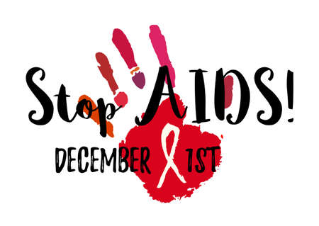 Shape of red hand with AIDS ribbon from brush strokes.
