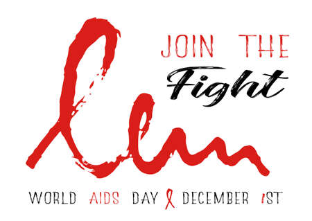 Shape of red AIDS ribbon from brush strokes on white background. Join the fight at World AIDS day in December 1st. Vector illustration