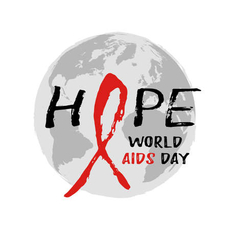 Round logo with Earth globe and red AIDS ribbon from hand written brush strokes on white background. World AIDS day in December 1st. Vector illustration Illustration