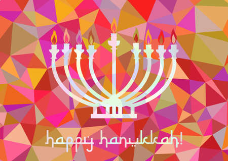 Postcard for greetings with Festival of Lights, Feast of Dedication Hanukkah. Menorah with candles on pink polygonal background. Vector illustration