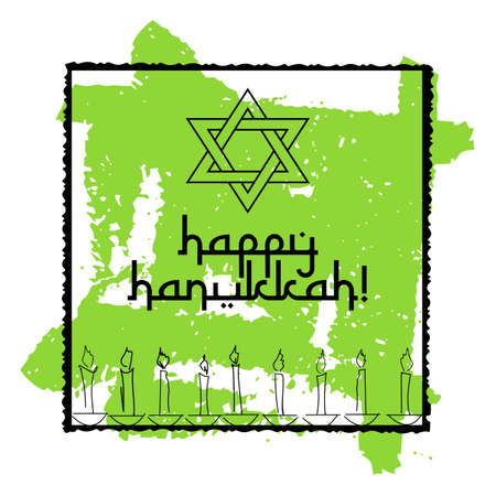 Postcard for greetings with Festival of Lights, Feast of Dedication Hanukkah. Star of David and eight candles on green background from brush strokes. Vector illustration