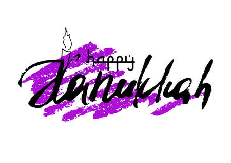 Postcard for greetings with Festival of Lights, Feast of Dedication Hanukkah. Hand written lettering with drawn candle on purple background from brush strokes. Vector illustration Illustration