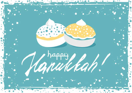 Postcard for greetings with Festival of Lights, Feast of Dedication Hanukkah. Grunge hand written greeting with jewish sufganiots on blue background with snow frame. Vector illustration