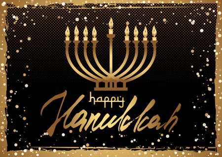 Card for Festival of Lights, Feast of Dedication Hanukkah. Menorah with candles and hand written lettering in golden colors on black halftone background with gold scattering. Vector illustration 矢量图像