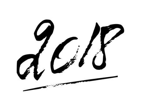 Happy New Year 2018 winter grunge hand written lettering on white background.