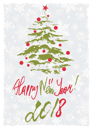 Grunge retro style greeting card with Christmas tree and hand written lettering in Christmas colors. Vector illustration Illustration