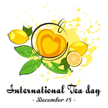 Cup of tea in shape of heart with lemon and tea leaves on white background. International Tea Day in December 15.