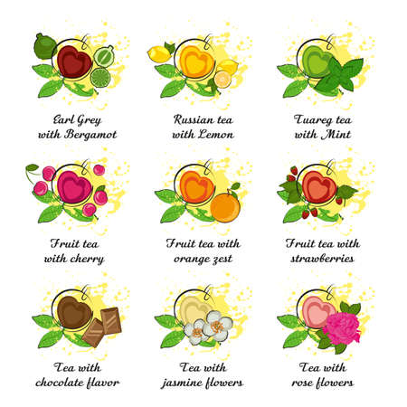 Set of leaf tea with different flavors in cup in shape of heart on white background. International Tea Day in December 15. Vector illustration Illustration