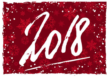 Happy New Year 2018 greeting card with hand written lettering and white snow on red background with snowflakes. Vector illustration Illustration