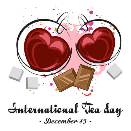 Two cups of black tea in shape of heart with chocolate and pieces of sugar on white background. International Tea Day in December 15.