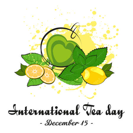 Cup of green tea in shape of heart with lemon, mint and tea leaves on white background. International Tea Day in December 15. Vector illustration