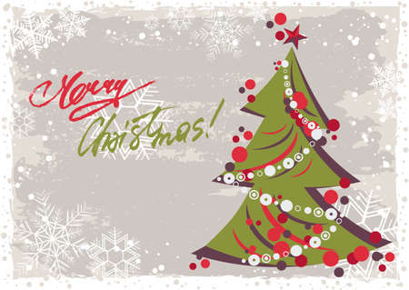 Grunge retro style greeting postcard for Merry Christmas and Happy New Year with stylized Christmas tree in christmas colors. Vector illustration