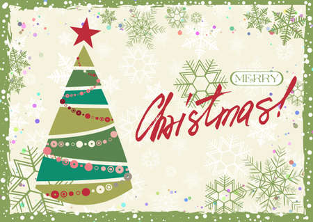 Grunge retro style greeting card for Merry Christmas and Happy New Year with stylized Christmas tree and hand written lettering in christmas colors. Vector illustration Illustration