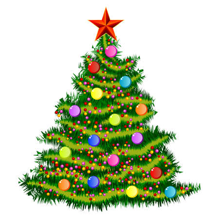 Classic christmas tree isolated on white background. Vector illustration Illustration