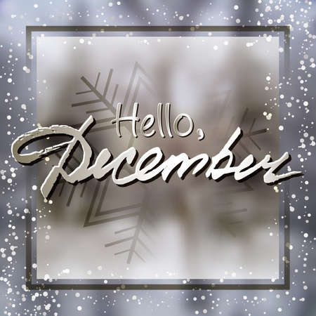 Welcoming card with white hand written lettering Hello December on natural blurry winter background with snowflake. Vector illustration