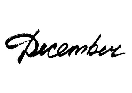 December. Hand drawn stylized lettering from brush stroke on white background. Vector illustration