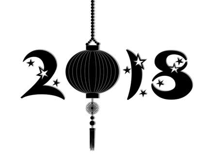 Greeting card to Chinese New Year 2018 with stars and sky lantern in black and white.