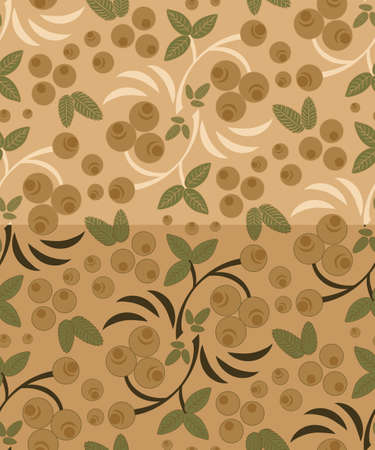 Two berry pattern with bunch of rowan in two versions in retro beige colors and Khokhloma technique.