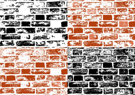 Set of grunge textures of brick wall in red and white black. Illustration