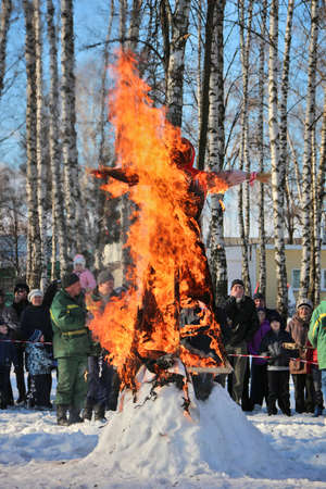 Traditional burning of Maslenitsa Scarecrow on seeing Russian winter on last day of Shrovetide, March 3, 2016, Tula, Russia