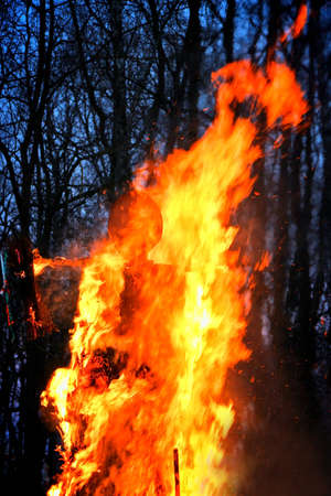 Traditional burning of Maslenitsa Scarecrow on seeing Russian winter on last day of Shrovetide in dark evening. Burning effigy on forest background. Vertical orientation 免版税图像
