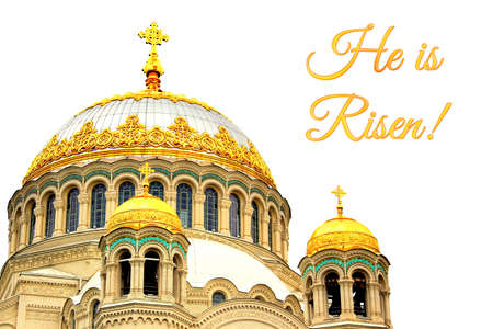 Holiday card for Easter with domes of Naval Cathedral of Saint Nicholas the Wonderworker in Kronstadt, Russia. Easter greeting card. Isolated on white