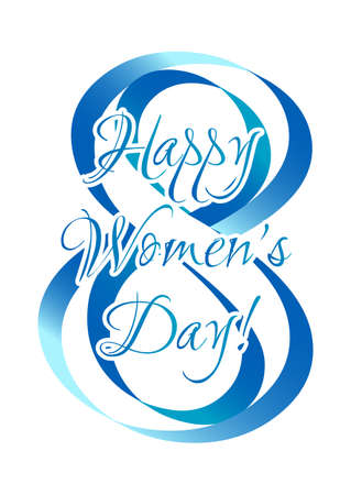 Greeting card on white background for International Womens Day. March 8. Vector illustration