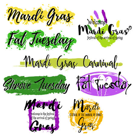 Set with lettering Mardi Gras carnival with colorful splashes of paint isolated on white background. Vector illustration