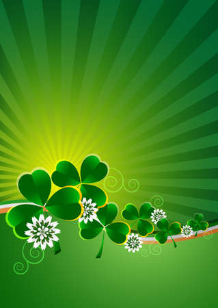 Holiday card with green shamrocks and clover flowers on green striped background with irish flag for St. Patricks Day in March 17. Vector illustration