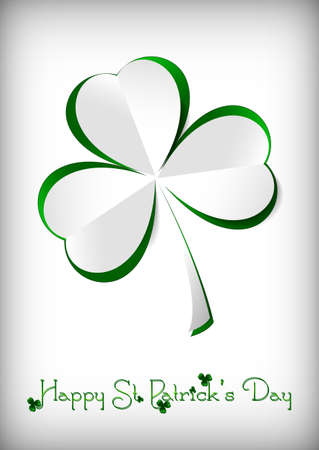 Holiday card on St. Patrick's Day in March 17. Paper clover on white background. Vector illustration Illustration