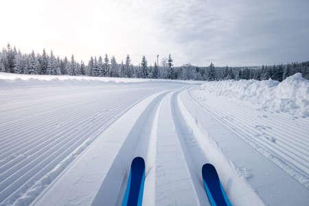 Zimowy krajobraz z trasami do narciarstwa biegowego, Jesioniki, Republika Czeska Zdjęcie Seryjne