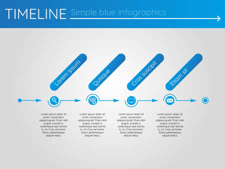 Simple blue timeline 4, infographics vector
