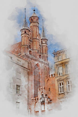 Church, Old Town in Torun, Poland, digital watercolor illustration