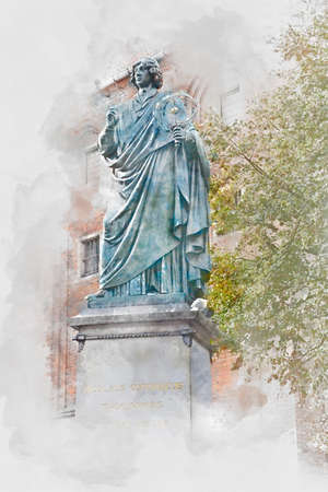 Monument of Nicolaus Copernicus in Torun, digital watercolor illustration