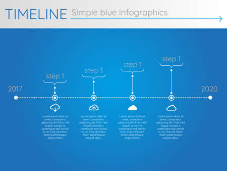 Simple blue timeline 23, infographic vector