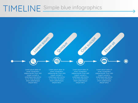 Simple blue timeline 24, infographic vector