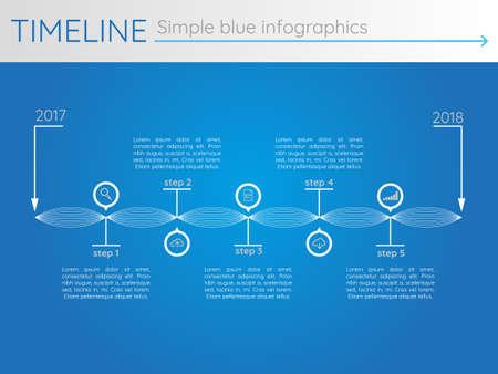 Simple blue timeline 27, infographic vector Çizim