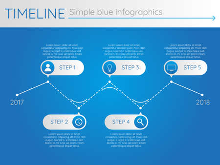 Simple blue timeline 28, infographic vector