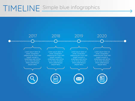 Simple blue timeline 22, infographic vector