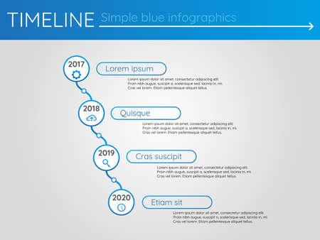 Simple blue timeline 17, infographics vector Çizim