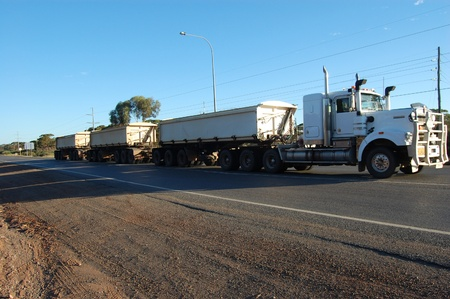 Road train in mining town, Australia