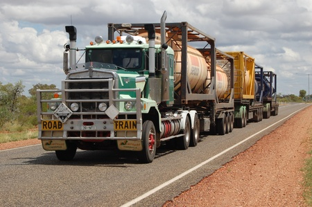 Road train in Australian outback
