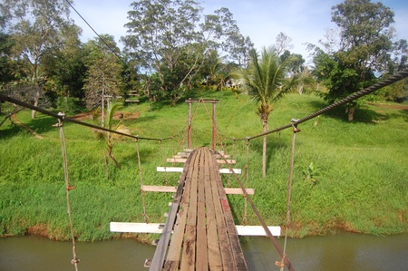 Suspention bridge in Sogeri village, Papua New Guinea