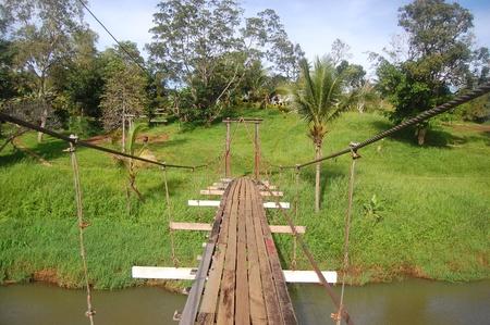 Suspention bridge in Sogeri village, Papua New Guinea