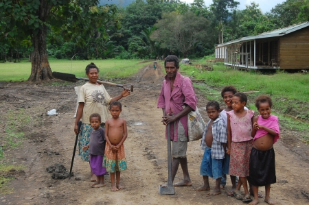 Family in village, outback of Papua New Guinea