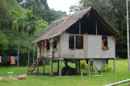 Nuova Guinea: Piccolo villaggio nell'entroterra di Papua Nuova Guinea