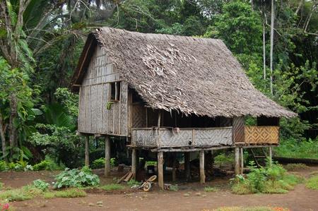 new guinea: Casa di Villaggio in nell'entroterra di Papua Nuova Guinea Editoriali